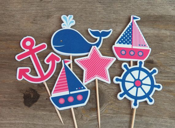Nautical Birthday Party - Set of 12 Pink & Navy Nautical Cupcake Toppers by The Birthday House