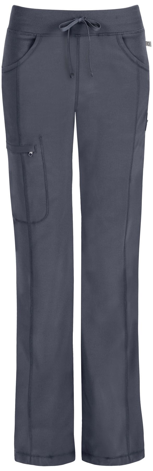 "A Contemporary fit, low rise, straight leg pant features an elastic knit waistband and adjustable drawstring. Also featured are rib knit front and back yokes, slash pockets, front leg seams with a zip closure cargo pocket, one back patch pocket, a bungee instrument loop below left pocket, a bungee cord with a toggle at the leg hems for adjustability and coverstitch detail throughout. Inseam: 31"" Sizes: XXS - 5XL Color: Pewter (PWPS) Antimicrobial technology"