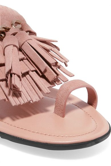 Tod's - Embellished Fringed Suede Sandals - Blush - IT40.5