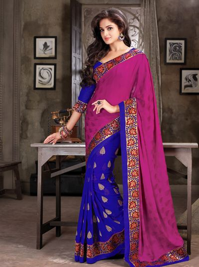 USD 58.98 Magenta and Purple Chiffon Half N Half Party Wear Saree   35899