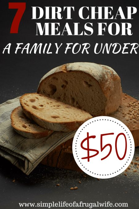 dirt cheap meals, feed a family dinner for a week for under $50. Meals to make when you are broke.