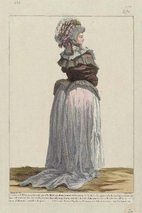 """""""La jeune indifférente, après avoir porté le désespoir dans le coeur de son amant et fait sentir sa rigueur à la foule d'adorateurs qui sans cesse obfedent ses momens, se promene sans nulle inquiétade, coëffée à la Chérubin, ayant un mantelet à la Circassienne, une robe de mousseline avec un tablier de gaze"""", Gallerie des Modes, 1785; MFA 44.1628"""