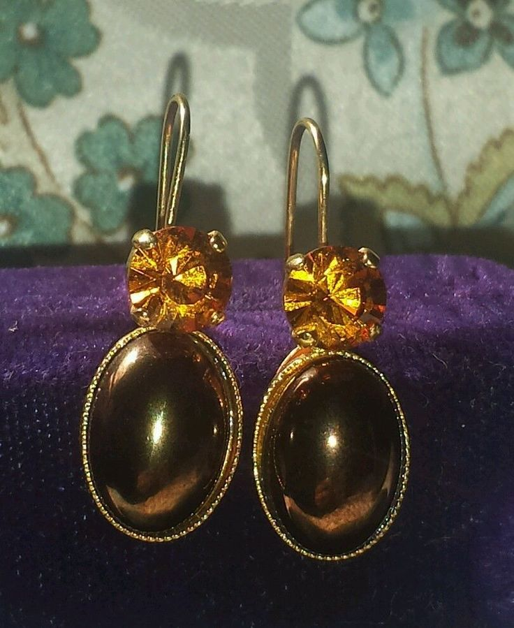 PHILIPPE FERRANDIS Paris Haute Couture amber peirced Drop Earrings #PHILIPPEFERRANDIS #DropDangle