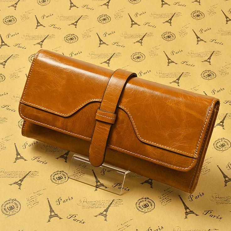 100% масло воск клатч женщины бумажники дизайн бренда высокое качество из натуральной кожи женский кошелек деньги…