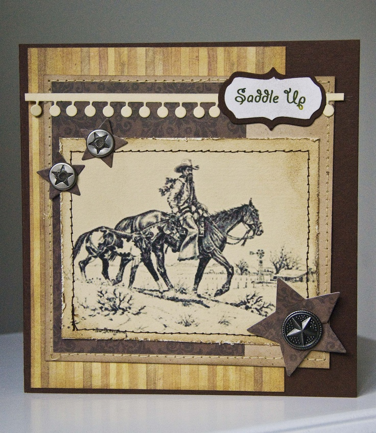 Saddle Up - Scrapbook.com: Scrapbook Ideas Cards, Scrapbook Cards, Scrapbook Com, Cards Scrapbook, Masculine Cards, Westerns Cards, Theme Scrapbooking Cards, Cards Men, Art Cards Masculine
