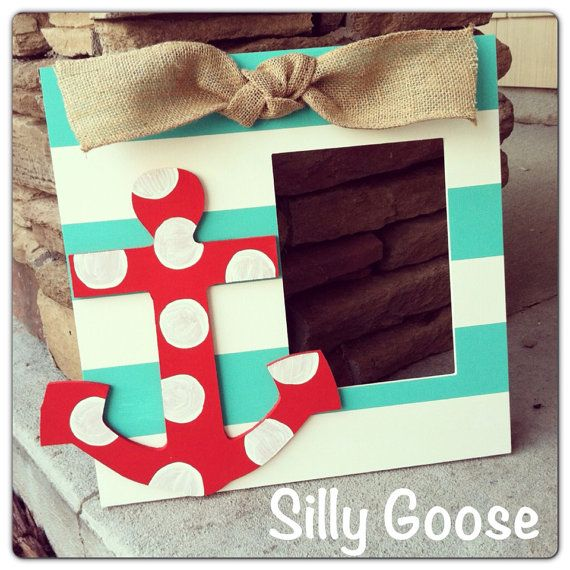 Anchor hand painted picture frame by SillyGooseFrames on Etsy, $32.00