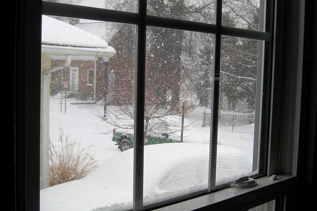 I LOVE when snow piles up outside of the windows.