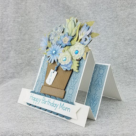 Handmade Blue Pop Out Happy Birthday Mom Card by CraftyGalCards