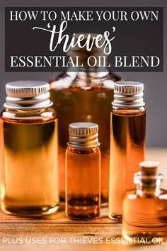 How to make your own Thieves essential oil blend from regular essential oils (i.e. not expensive!). Plus what to use those oils for!