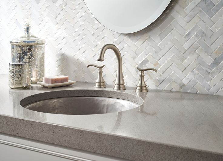 Beautiful brushed nickel faucet from the Delta Faucet Porter collection   Neutral grey tile keeps the. Top 25 ideas about Brushed Nickel Brilliance on Pinterest
