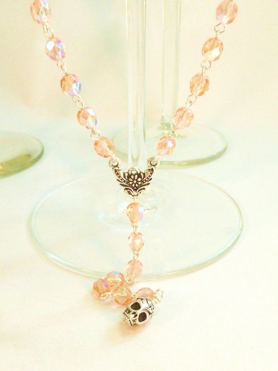 Pink Crystal with Silver Sugar Skull Extra Long by LaurenVanLeuven, $42.00