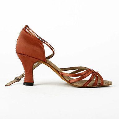 Femme satin / strass supérieur cheville Strap Chaussures de danse latine / salsa avec perle – EUR € 27.99