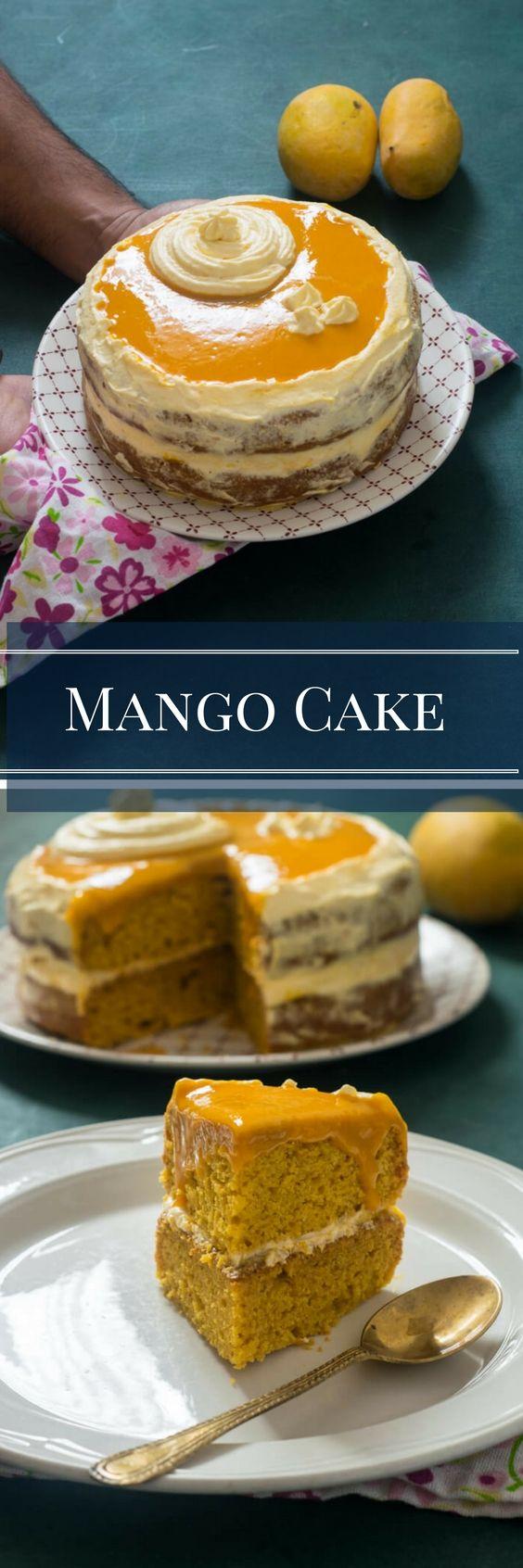 Eggless mango cake crumb coated with mango whipped cream and topped with shiny mango glaze.