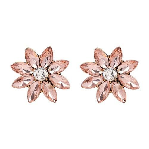 JUJIA 4 colors crystal flower stud earring fashion women statement stud Earrings for women Factory wholesale