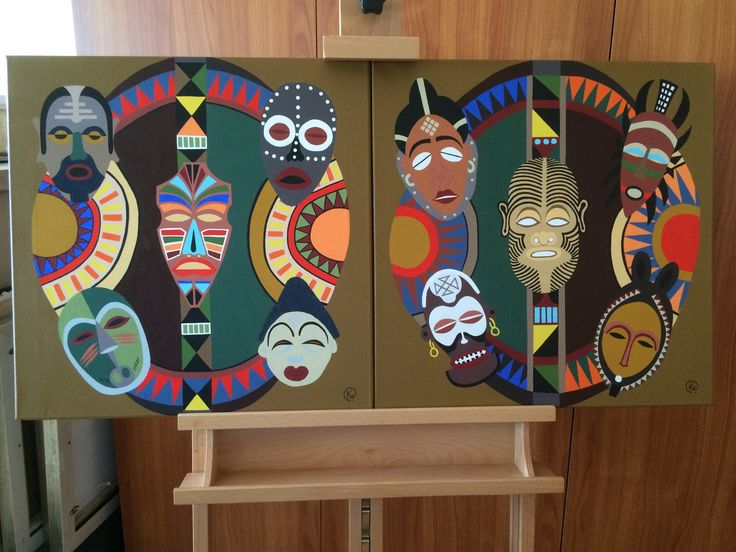 "Titel ""Mangfoldighed"" English ""Diversity"" 2 pics 50x50 cm. Acrylic Colors"