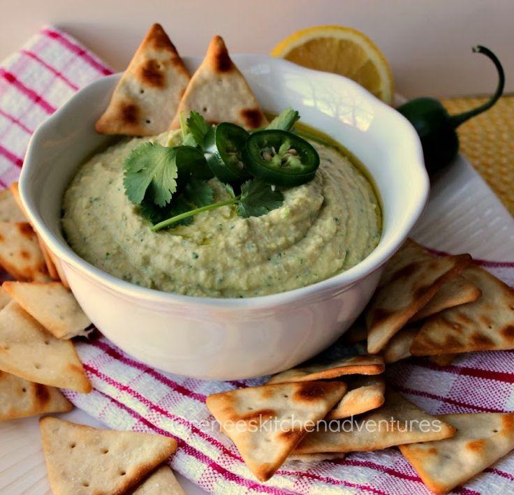 Renee's Kitchen Adventures: Jalapeno-Cilantro Hummus www.reneeskitchenadventures.com  Spicy hummus that is so addictive!  #hummus #snacks #jalapeno