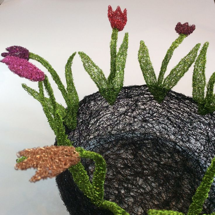 Detail of woven wire tulip bowl
