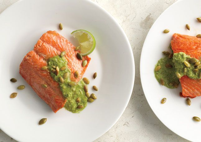 Pan-Seared Salmon with Pumpkin Seed-Cilantro Pesto: Dinner, Food, Pumpkins, Pumpkin Seed Cilantro, Pesto Recipe, Pan Seared Salmon, Seed Cilantro Pesto, Salmon Recipes, Fish Recipe