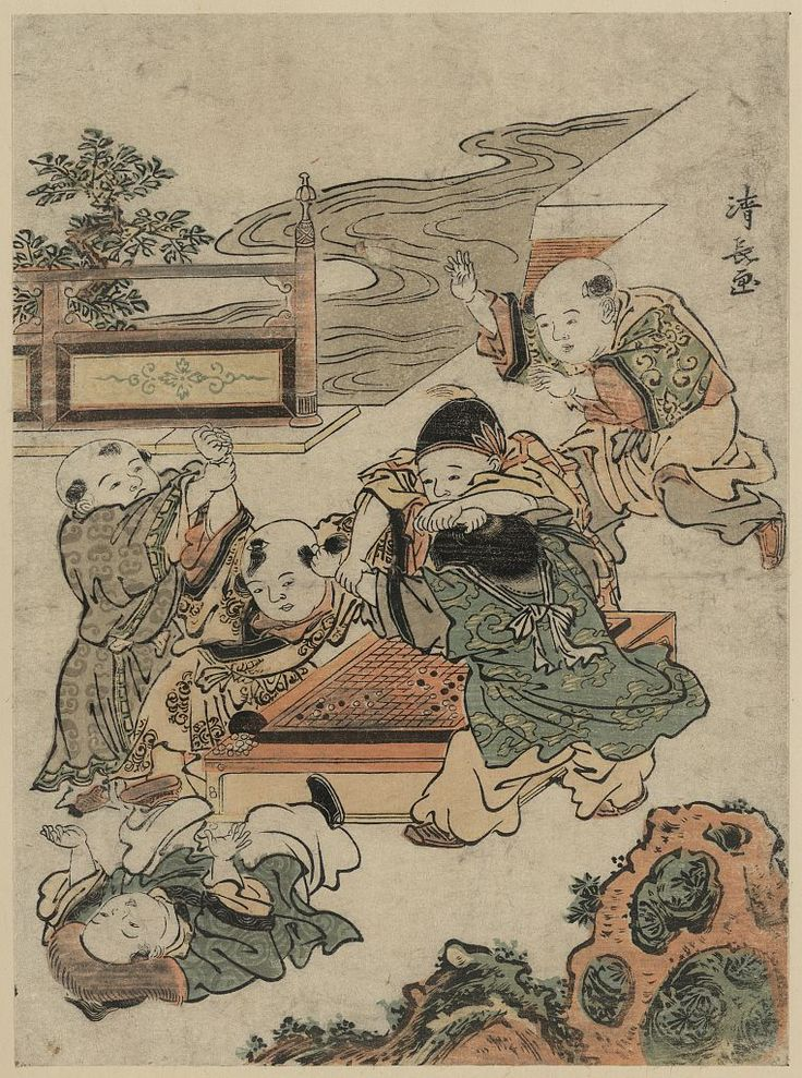 Children Fighting During A Game Of Go Japanese Wood Cut Print Art Prints Available In Multiple Sizes