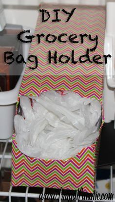 Plastic Bag Holder - DIY Do you need a simple way to store and organize your plastic grocery bags? Here is an easy DIY plastic bag holder that can be customi