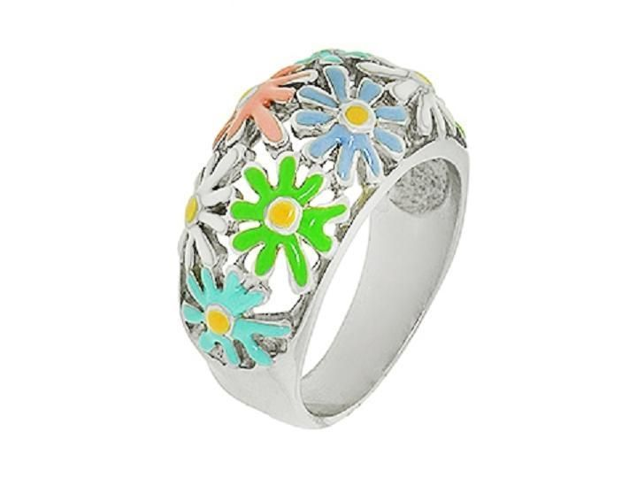Stainless Steel Ladies Rings with Many Flowers - Model AM150R211 #FenixSteel #Friendship