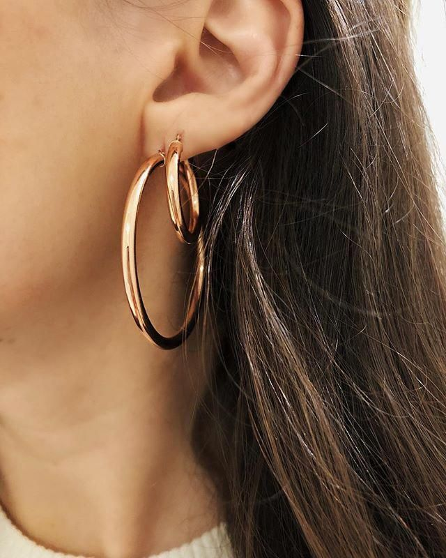 0d2dcd2a3 From left to right: 3mm Gold Tube Hoops Size Large, 3mm Gold Tube Hoops  Size Small #stylishearpiercings