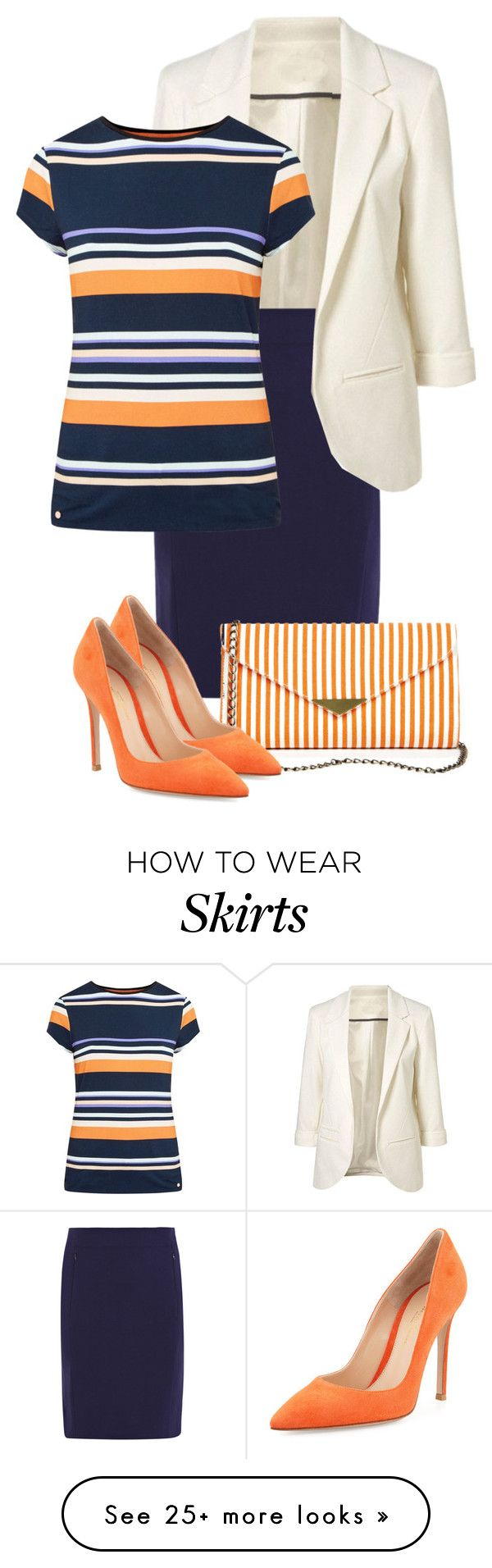"""""""Skirt & Stripes"""" by sagramora on Polyvore featuring Diane Von Furstenberg, Ted Baker, Sole Society and Gianvito Rossi"""