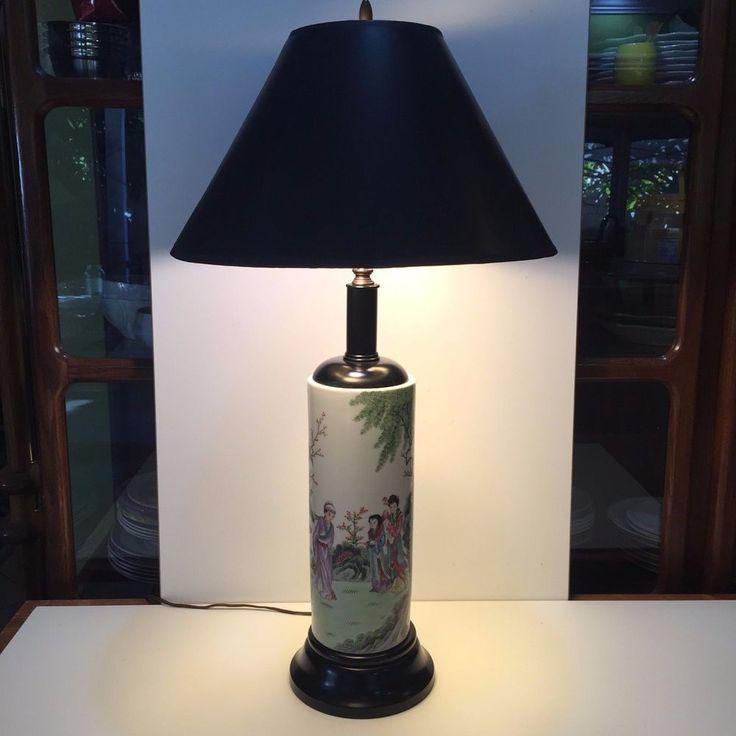 Vintage Chinese Famille Rose Medallion Handpainted Cylinder Vase Porcelain Lamp