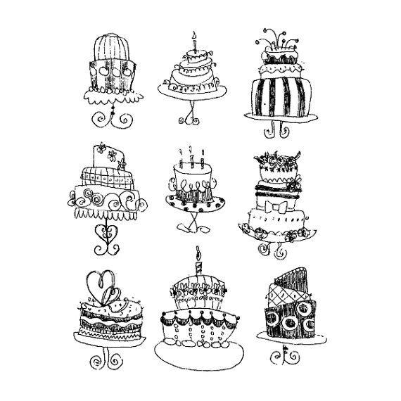 9 cakes vector PDF freehand tekening illustratie door Dezignation