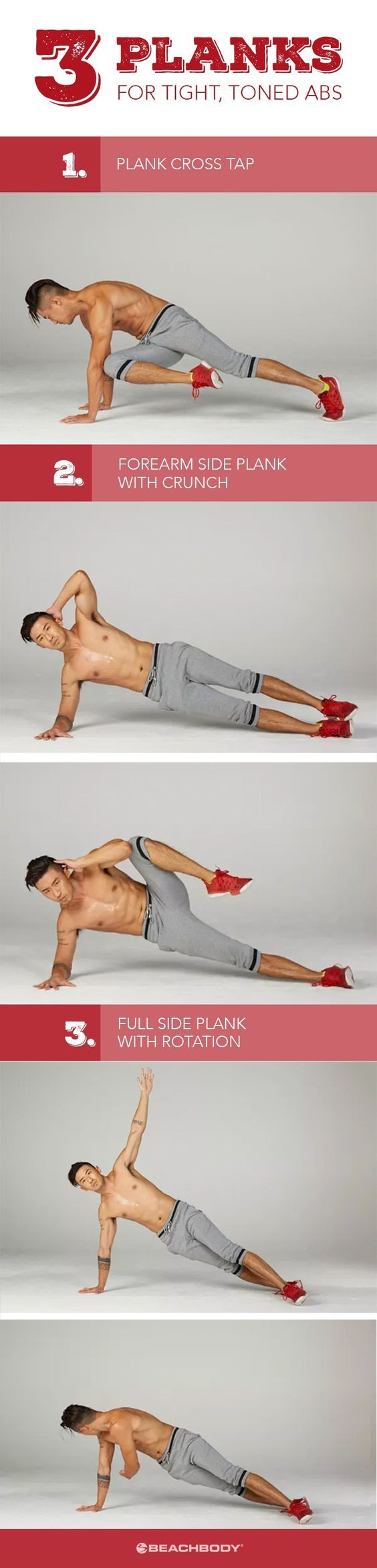 Plank exercises benefits are many. The plank is one of the best overall core conditioners around, and unlike crunches, it keeps your spine protected in a neutral position. Here are 3 ab workouts to strengthen core and lose excess belly fat. Beachbody workouts // Plank exercises // How to get toned abs // how to get a great core // easy core workouts // plank workouts