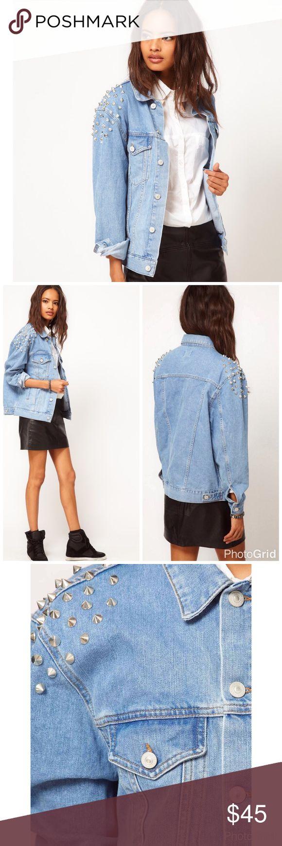 ASOS denim boyfriend jacket w/studs BNWT ASOS denim boyfriend jacket w/studs BNWT US14 ASOS Jackets & Coats Jean Jackets