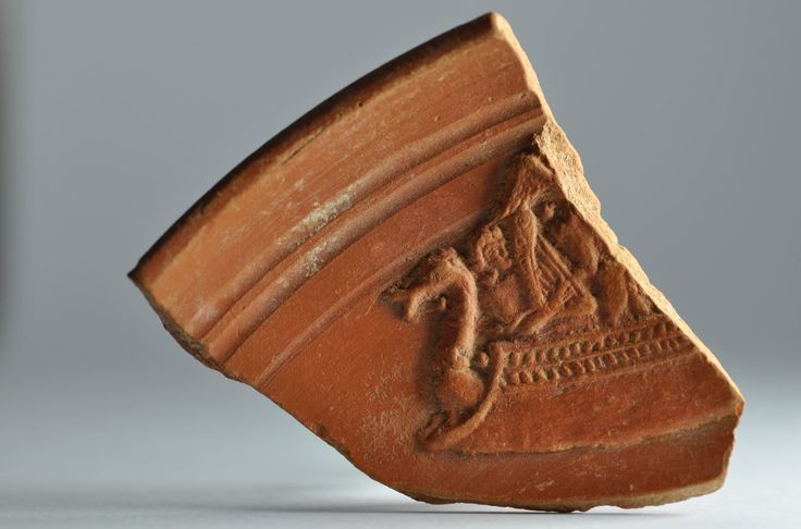 Roman navy, roman ship on african red slip ware sherd with roman navy, 4th century A.D. Private collection