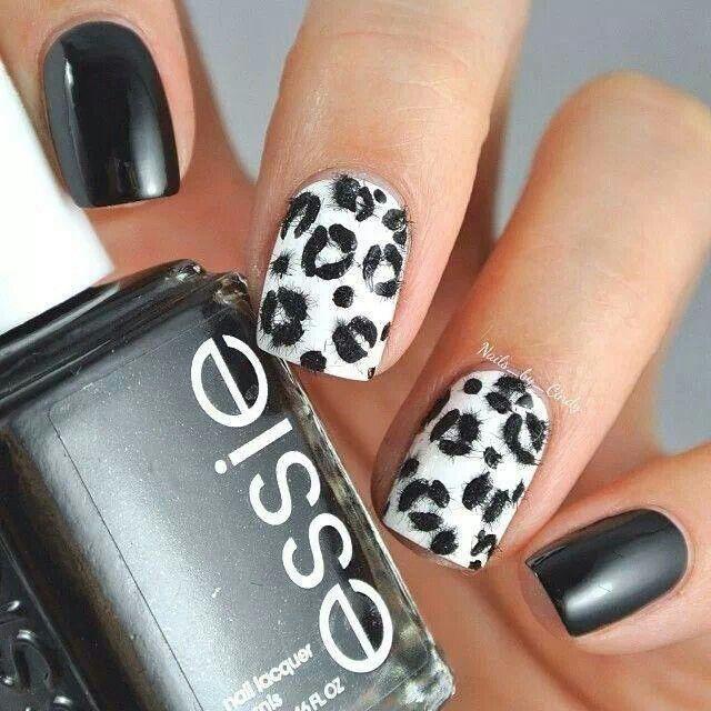 Black/white leopard print design | Cool nail designs ...