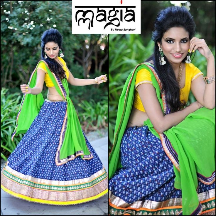 Perfect to wear it for Dandiyas and Mehendis! This gamthi printed cotton Lehenga styles with a Yellow silk Blouse and a Green georgette dupatta!
