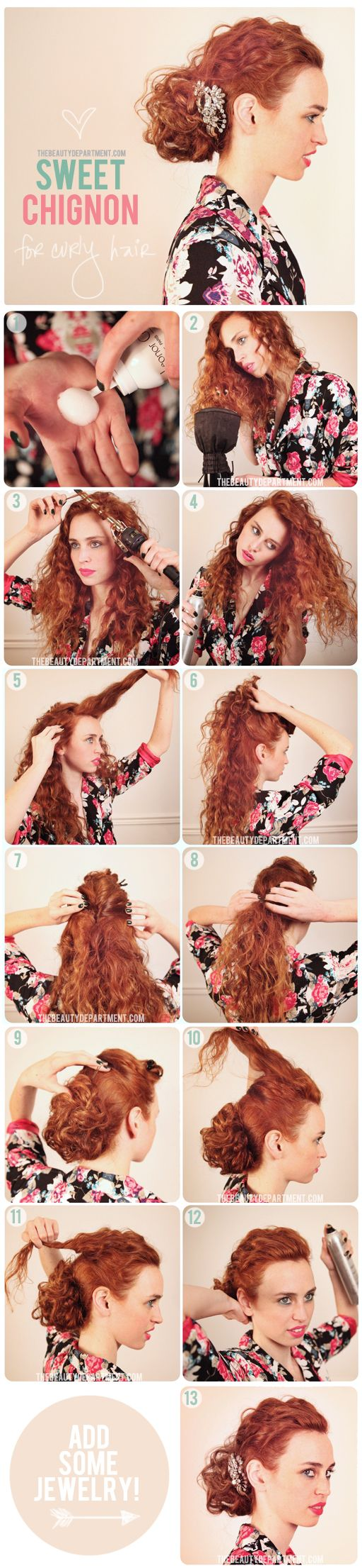 Calling all curly girls! Here's a fun, fancy little updo for you. We get lots of requests for updos on curly hair from our readers who want to embrace their natural texture. Working with curls when doing an updo is so much fun because almost anything you do looks romantic + girly! This tutorial is pretty easy and you can accessorize it with anything you want.