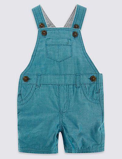 2 Piece Pure Cotton Bodysuit & Bibshort Dungaree Outfit | M&S