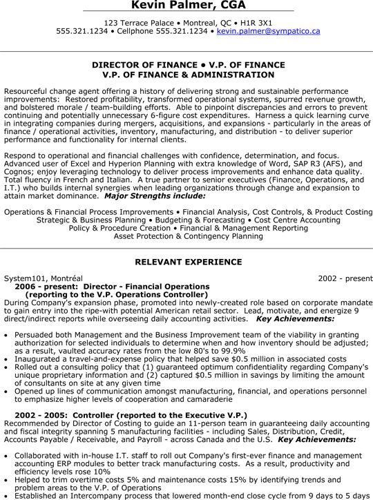 Director of Finance | V.P. (Vice President) of Finance and Administration Resume Sample