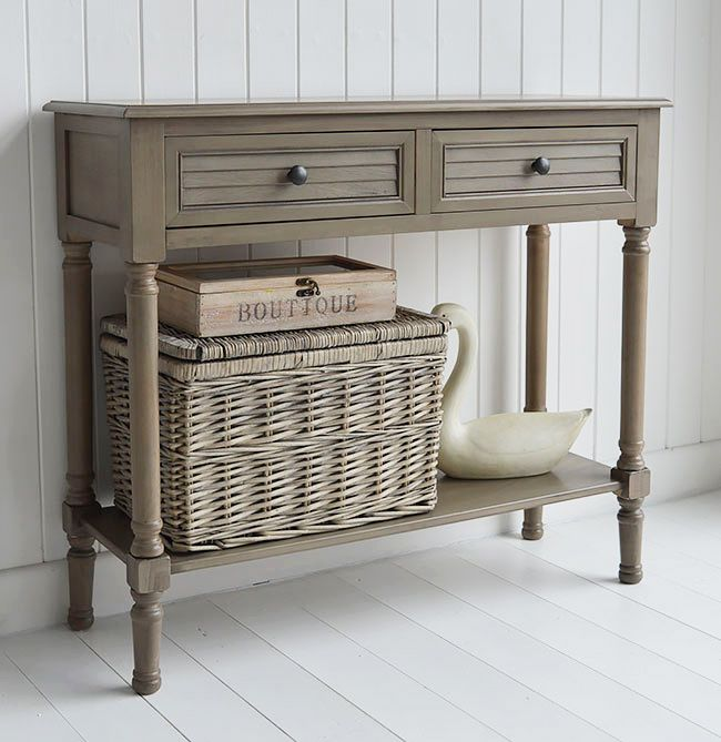 Newport Cottage French Grey Console Table For Country Living Room Furniture