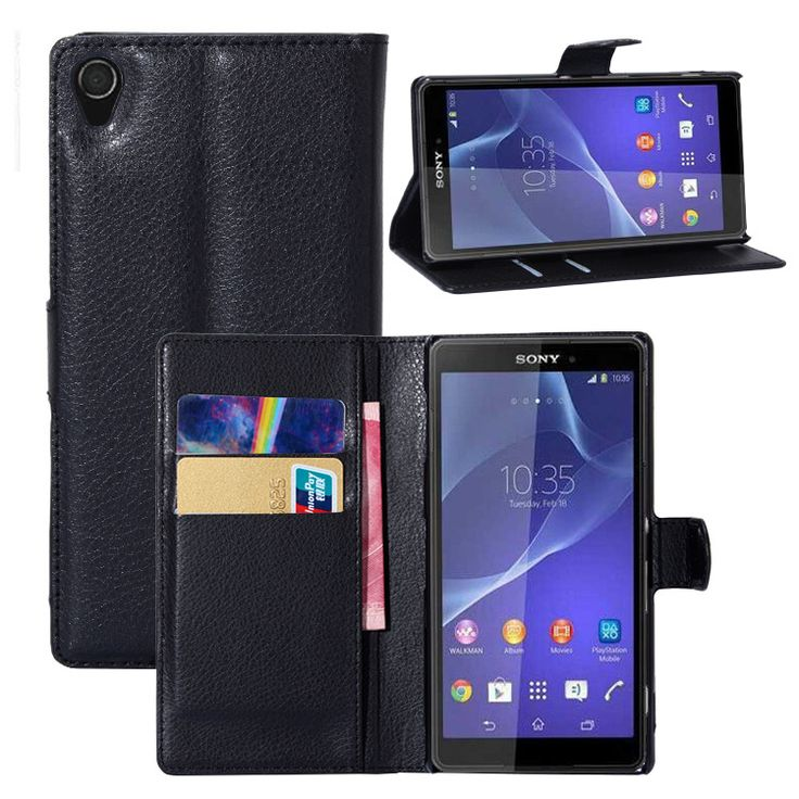 Litchi Texture Leather Wallet Case for Xperia Z3, Card Slots & Stands Multi-function Folio Wallet Cases for Sony Xperia Z3