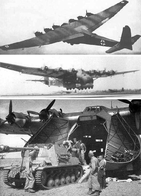 """Die Messerschmitt Me-323 """"Gigant"""" war die zunächst mit vier, dann mit sechs Motoren ausgerüstete Weiterentwicklung des schweren Lastenseglers Me-321. Sie war das größte landgestützte Transportflugzeug des Zweiten Weltkrieges."""