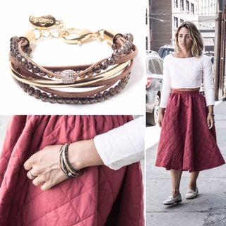 Bracelet Mhali en cuir brun par Luxetto