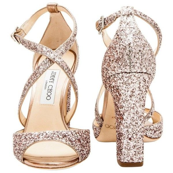 Preowned Jimmy Choo High Heel Sandals In Pink Sequins Size