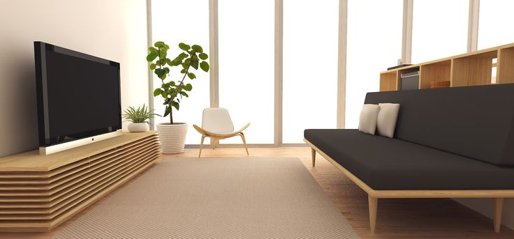 Minimalist TV console, simple chair, durable carpet and ...