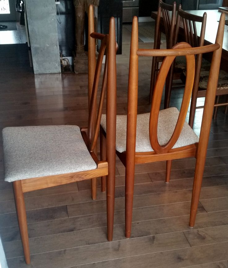 6 Mid Century Modern Solid Teak Dining Chairs REFINISHED REUPHOLSTERED $249 per chair like NEW