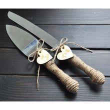 Bolo de casamento personalizado jogo da faca, rústico bolo Faca & Server Set, rústico Decoração de casamento, presentes de Casamento personalizados(China (Mainland))