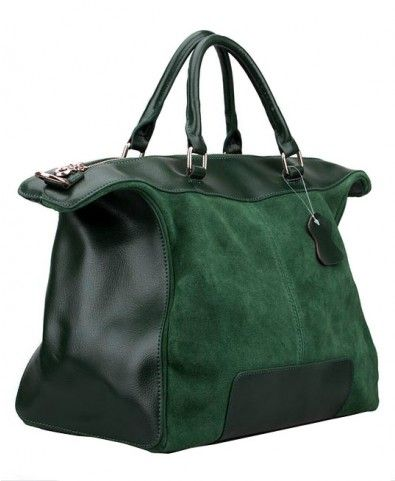 Nubuck Leather Splicing Large Capacity Tote