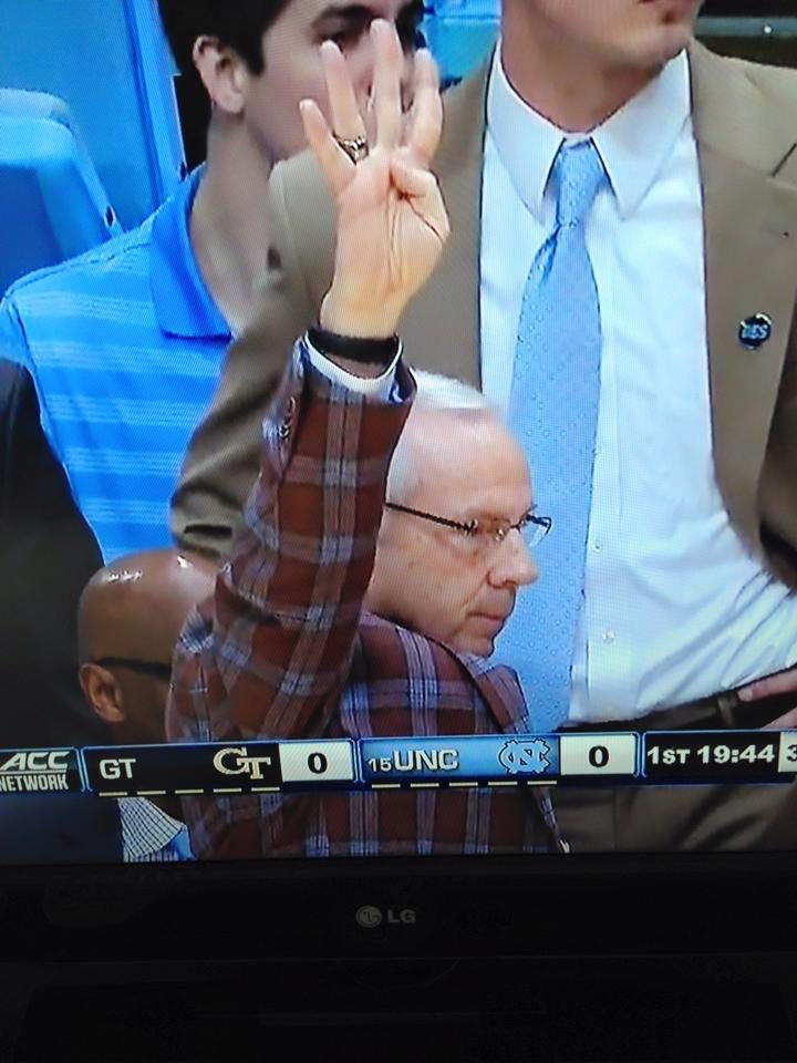 Roy giving the four corners signal in honor of DEAN SMITH !!! ( 2-21-15)  UNC - GA Tech game.  Final score 89-60