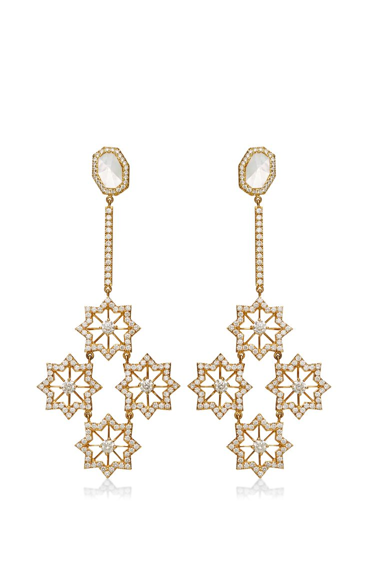 Alandalus night 18k gold diamond and mother of pearl earrings by octium moda operandi