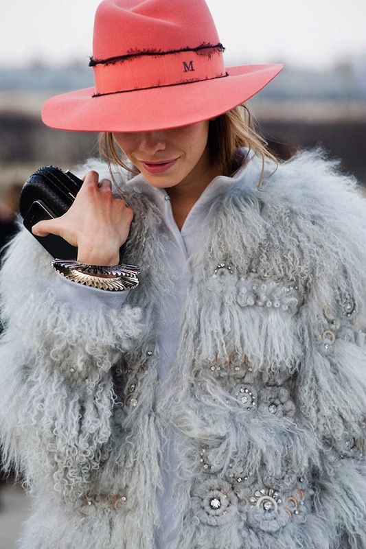 obsessed with the fur, even more obsessed with the monogrammed hat