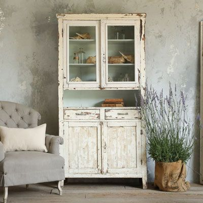 French Country Vintage Antiques - Hutches & Display Cases - Vintage Cabinet with Chipping White Paint - Cottage Haven Interiors
